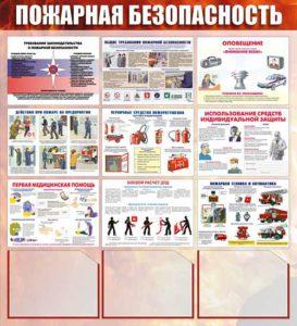Стенд пожарная безопасность 1000мм х 1200мм 3 кармана