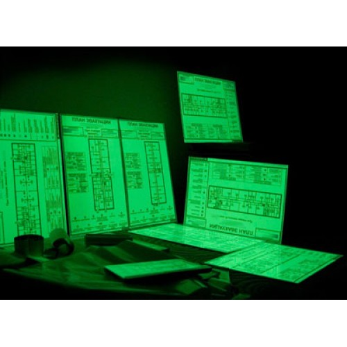 План эвакуации фотолюминисцентный, р-р. 600х400мм,основа пластик ПВХ 2 мм., 2-х стор. скотч, рем-кт
